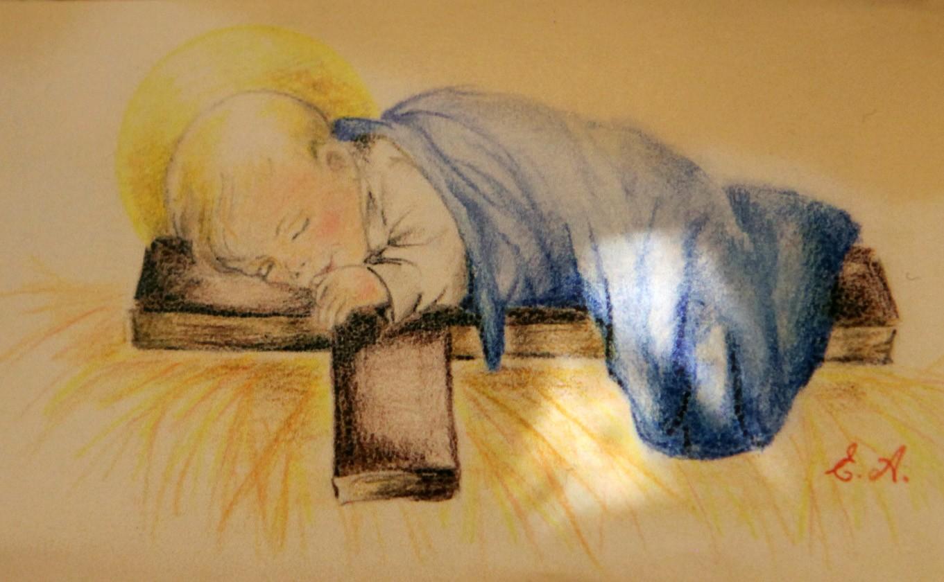 Una poesia e un disegno del Bambino per la messa di Sant'Adiutore
