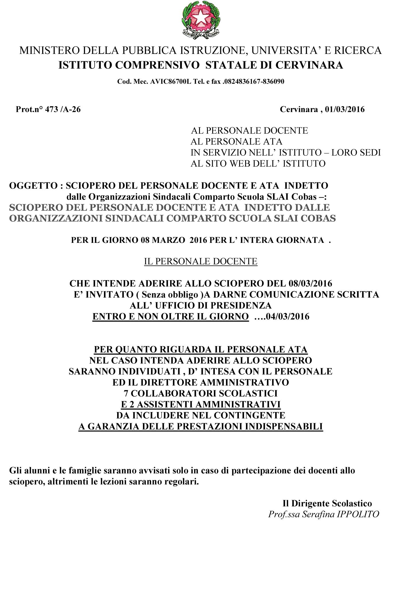 Istituto Comprensivo Cervinara/Avviso sciopero 8 marzo 2016