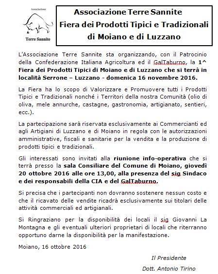 Ai Commercianti ed Artigiani di Moiano e Luzzano