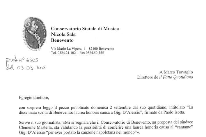 Conservatorio Sala di Benevento: Il direttore Ilario risponde a Il Fatto Quotidiano