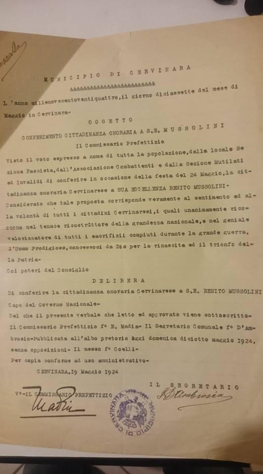 Cervinara | A Benito Mussolini fu conferita la prima cittadinanza onoraria