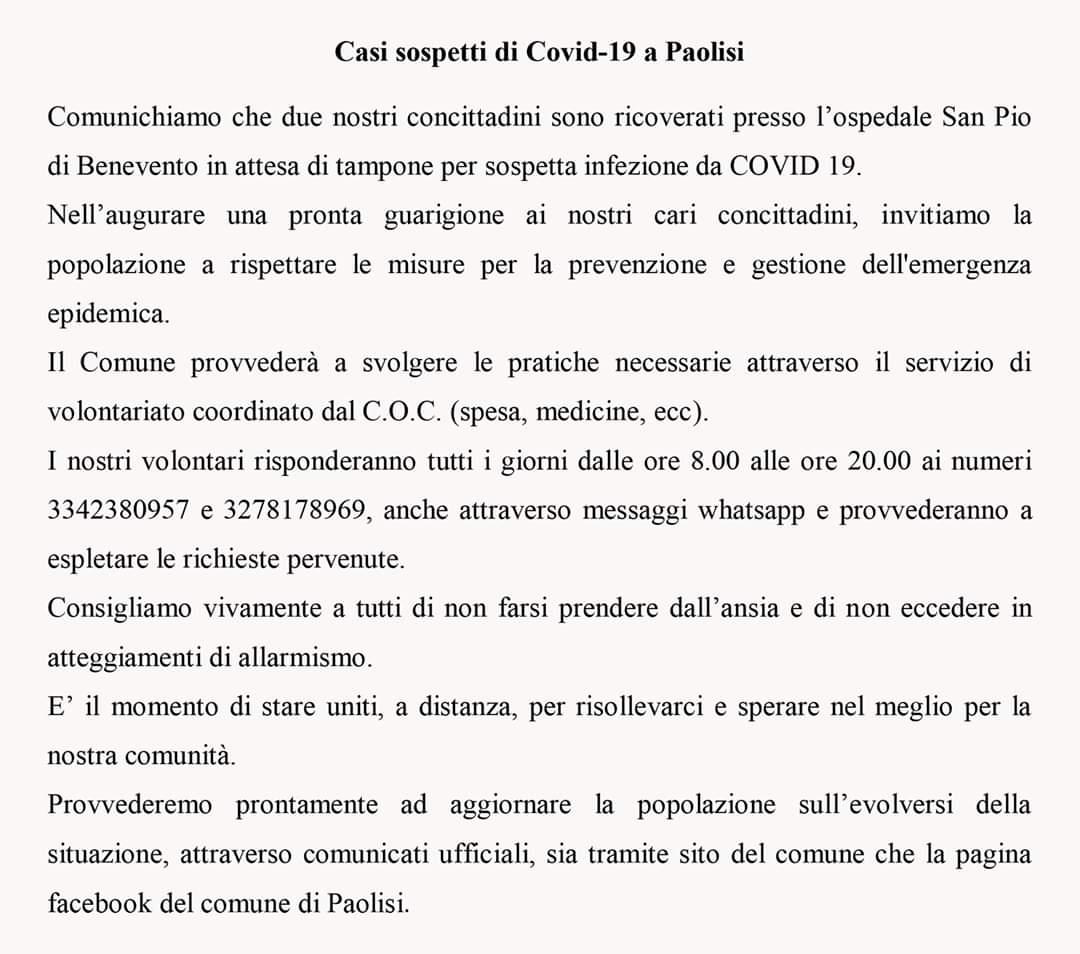 Paolisi, due sospetti Covid
