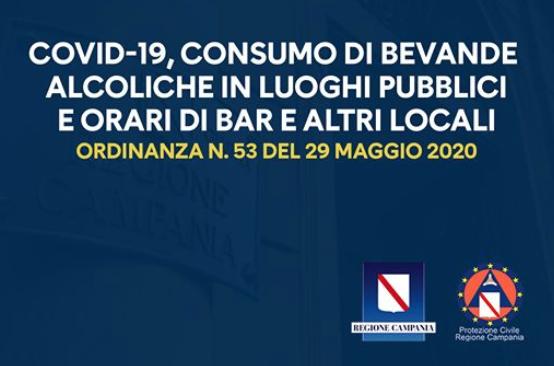 Campania. Ordinanza in materia di locali pubblici e somministrazione alcolici.