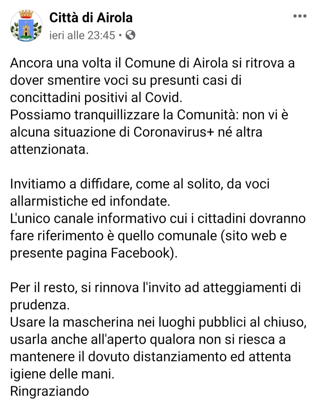 """Airola, Comune smentisce """"Nessun contagio"""""""