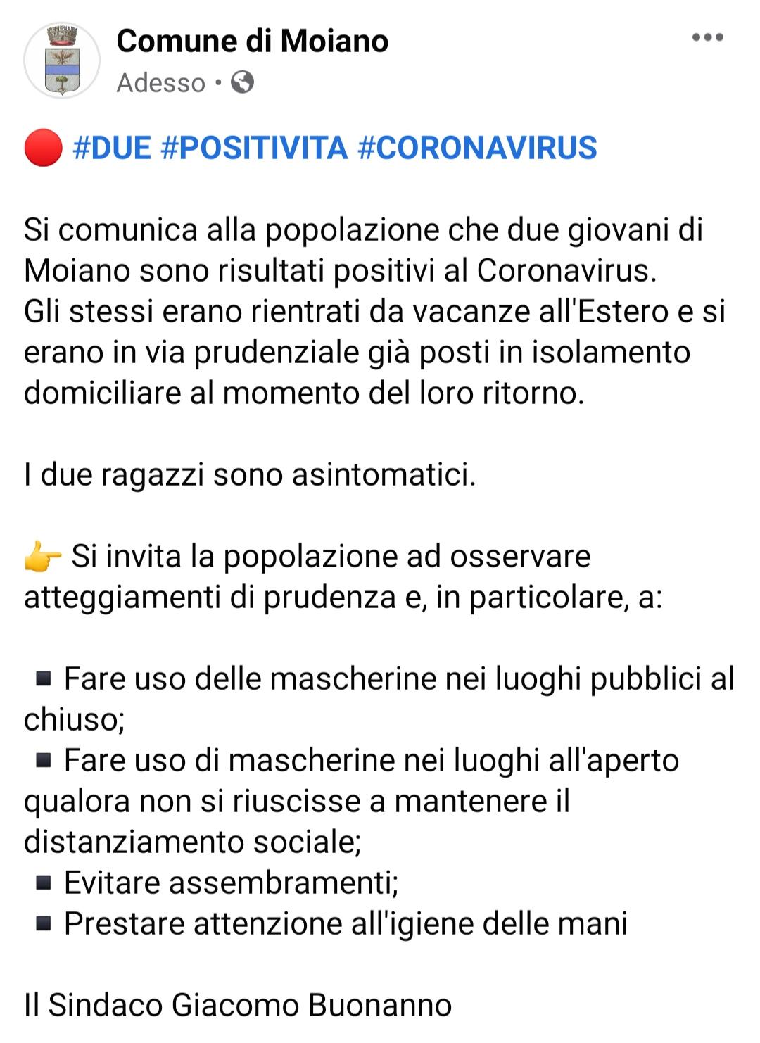Moiano, due positività al Coronavirus