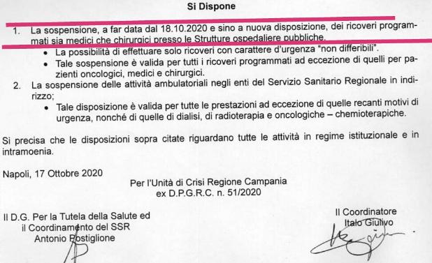 Regione Campania. Sospensione dei ricoveri