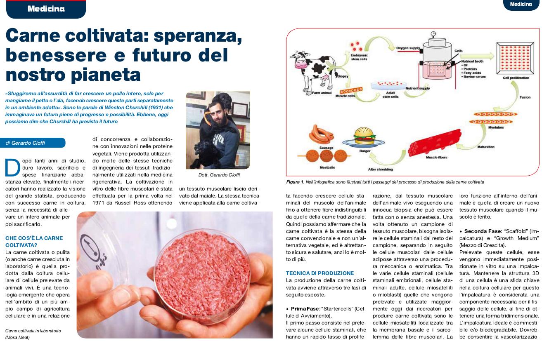 Cervinara. Carne coltivata: l'articolo scientifico del dott. Gerardo Cioffi.