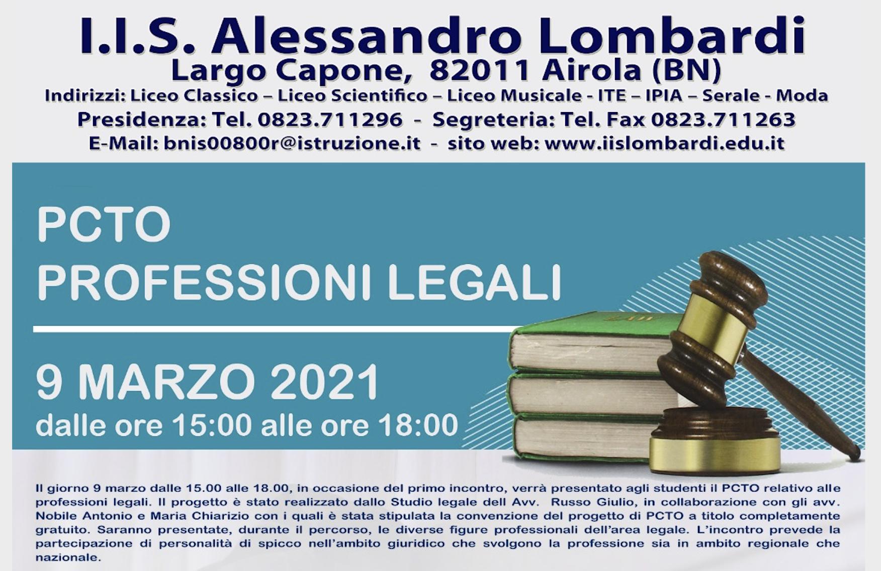 Airola. Istituto Lombardi: progetto PCTO, approccio alle professioni giuridiche e forensi.