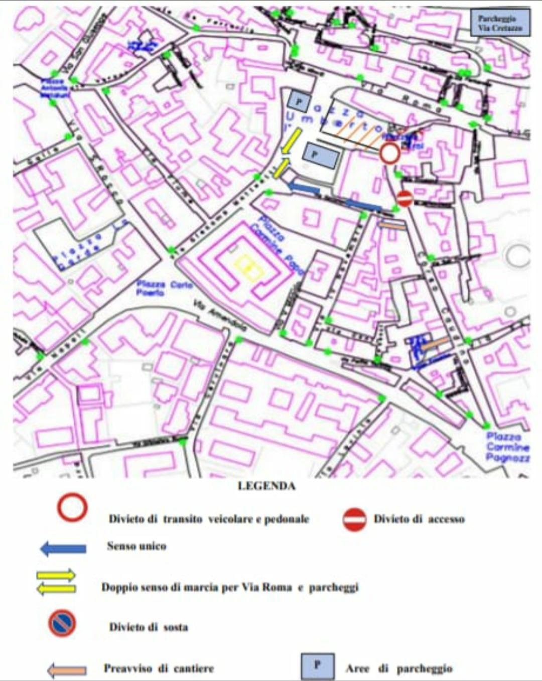 Montesarchio, piazza Umberto: nuovi dispositivi traffico e sosta