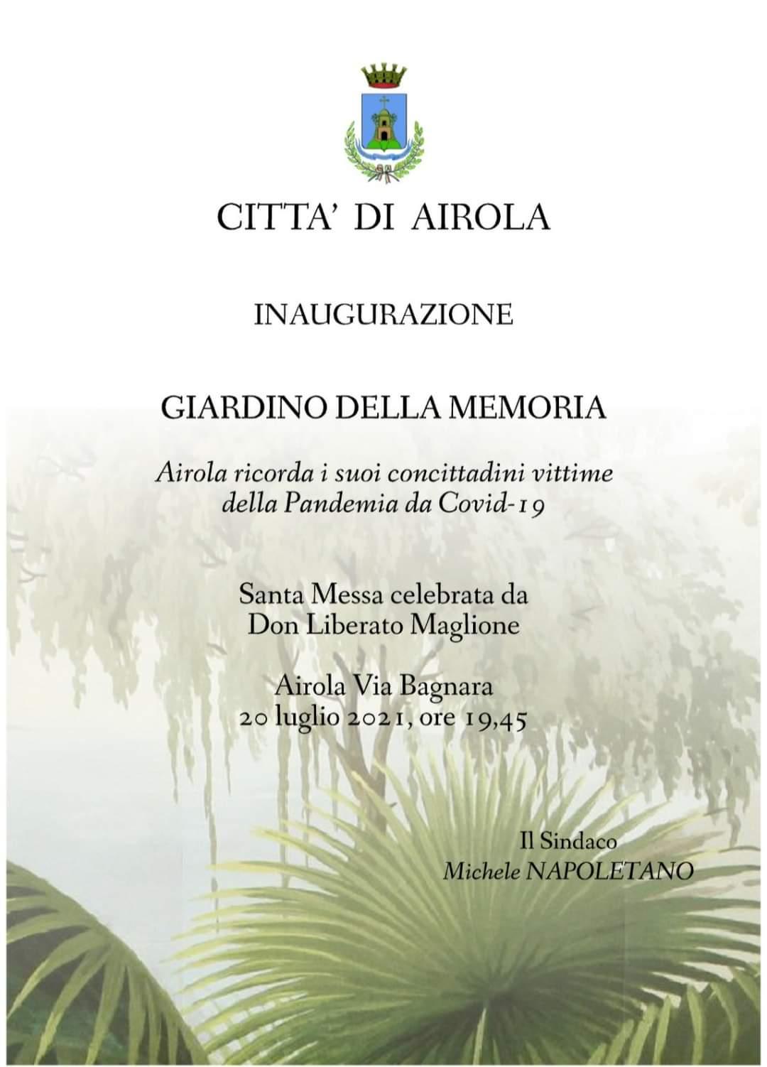Giardino della Memoria, questa sera ad Airola l'inaugurazione