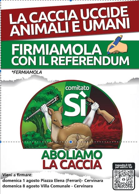 CERVINARA. Raccolta firme per referendum contro la caccia.