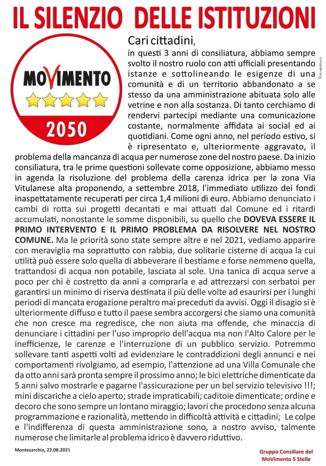 Montesarchio, lettera aperta da parte dei consiglieri M5S