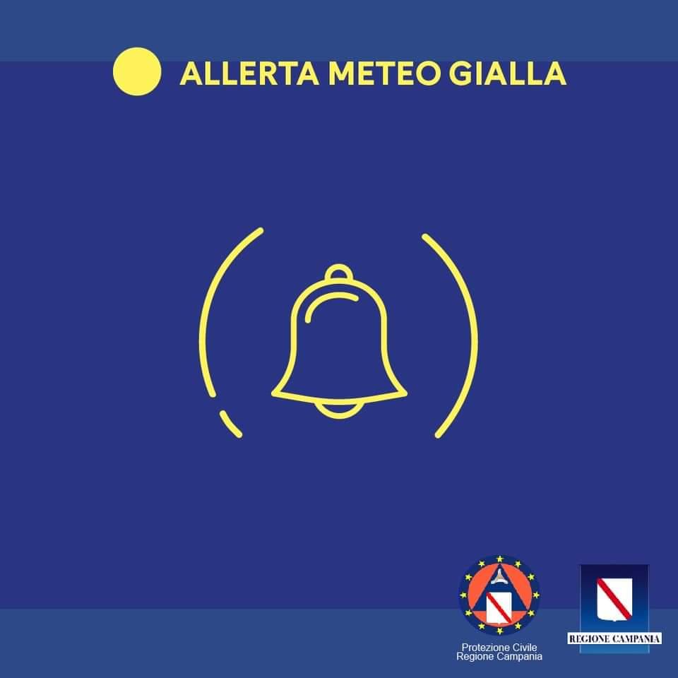 Campania, meteo: allerta gialla