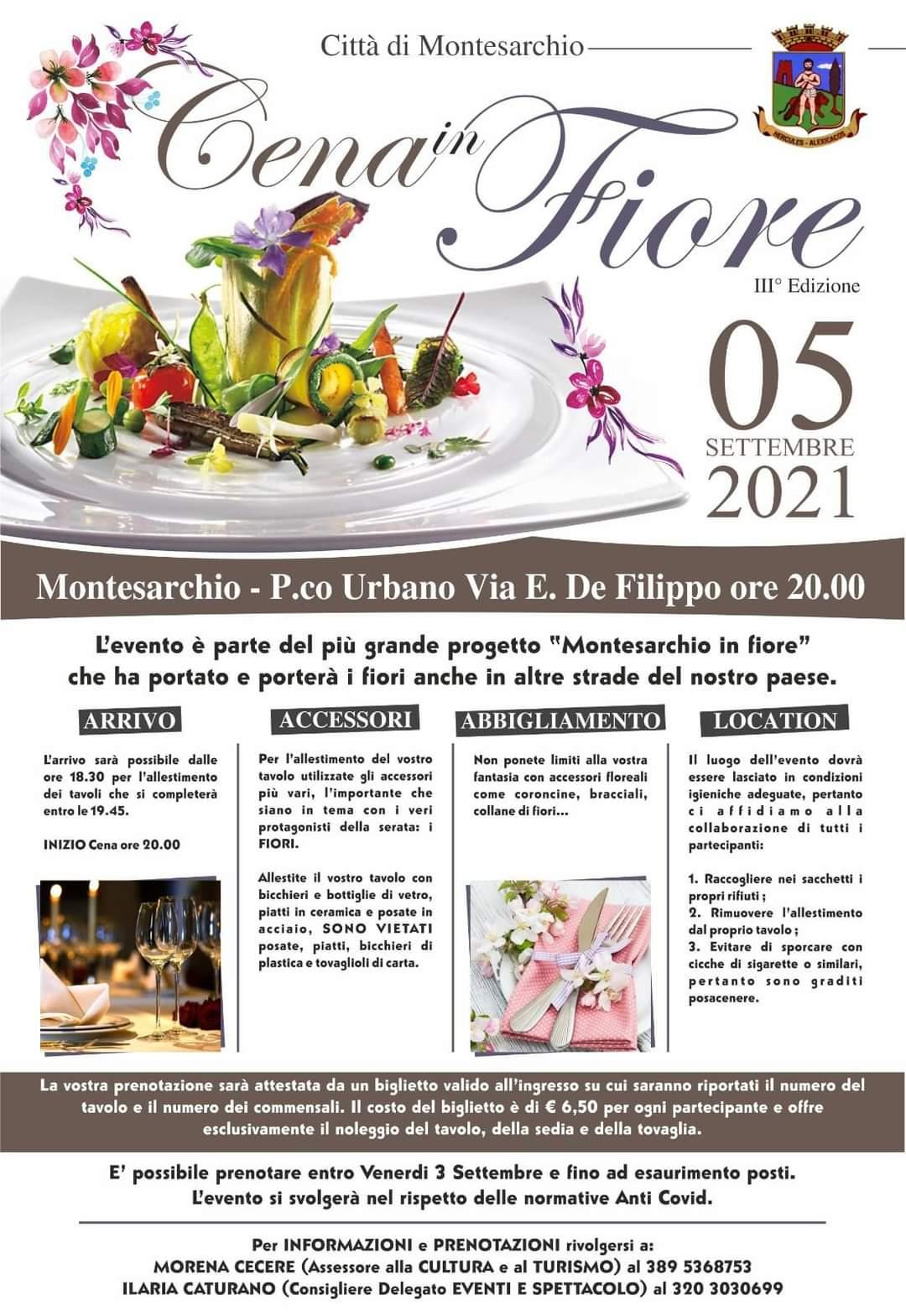 Montesarchio, cena in fiore: nuova edizione